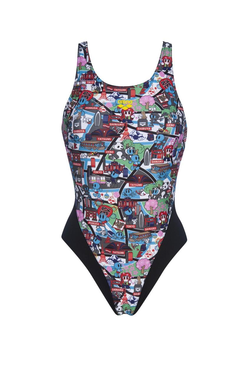 W Kun Map Swim Tech Back One Piece