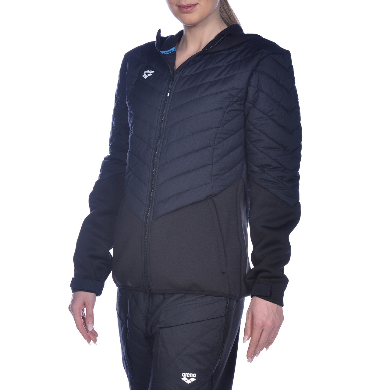 M Hooded FZ Half-Quilted Jacket